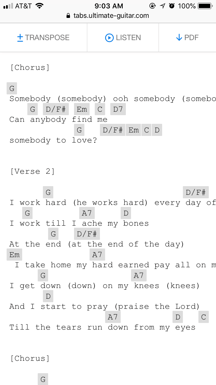 Somebody to Love Chords Credit to UltimateGuitar com #guitar
