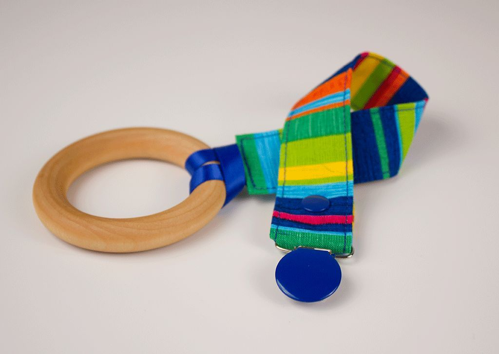 Primary Stripes Pacifier Clip