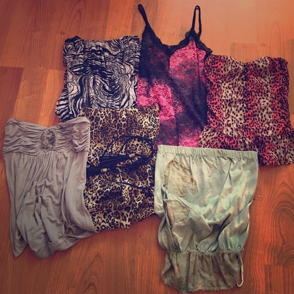 Bundle!!! Lacey sexy animal print tube top bundle! 6 super cute and sexy tops! Perfect for summer!!! All have been worn but are in great condition. Not from the brand listed. Forever 21 Tops Blouses