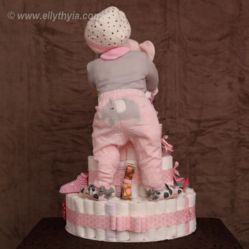 Pink Elephant And Baby Girl Diaper Cake -