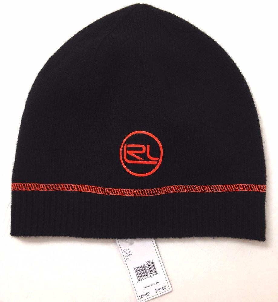 $40 Ladies LAUREN RALPH LAUREN BEANIE Black&Orange WOOL Winter Knit Ski Hat LRL #LaurenRalphLauren #Beanie #Winter