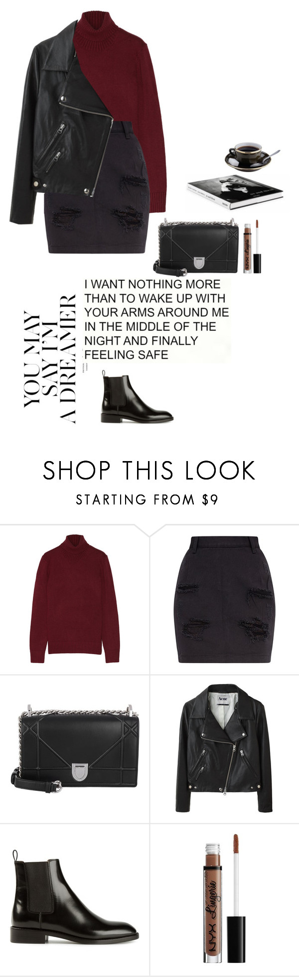 """""""morning in the café"""" by djulia-tarasova ❤ liked on Polyvore featuring Michael Kors, Christian Dior, Acne Studios, Nobis, Yves Saint Laurent and NYX"""
