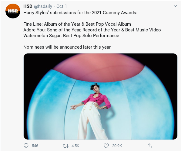 Harry Styles Submissions For The 2021 Grammy Awards In 2020 Harry Styles Grammy Awards Grammy