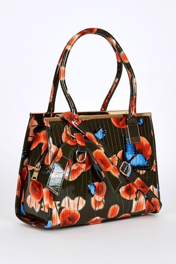 0fb91eb97760 Patent Floral Poppy Butterfly Print Handbag Ted Baker Style