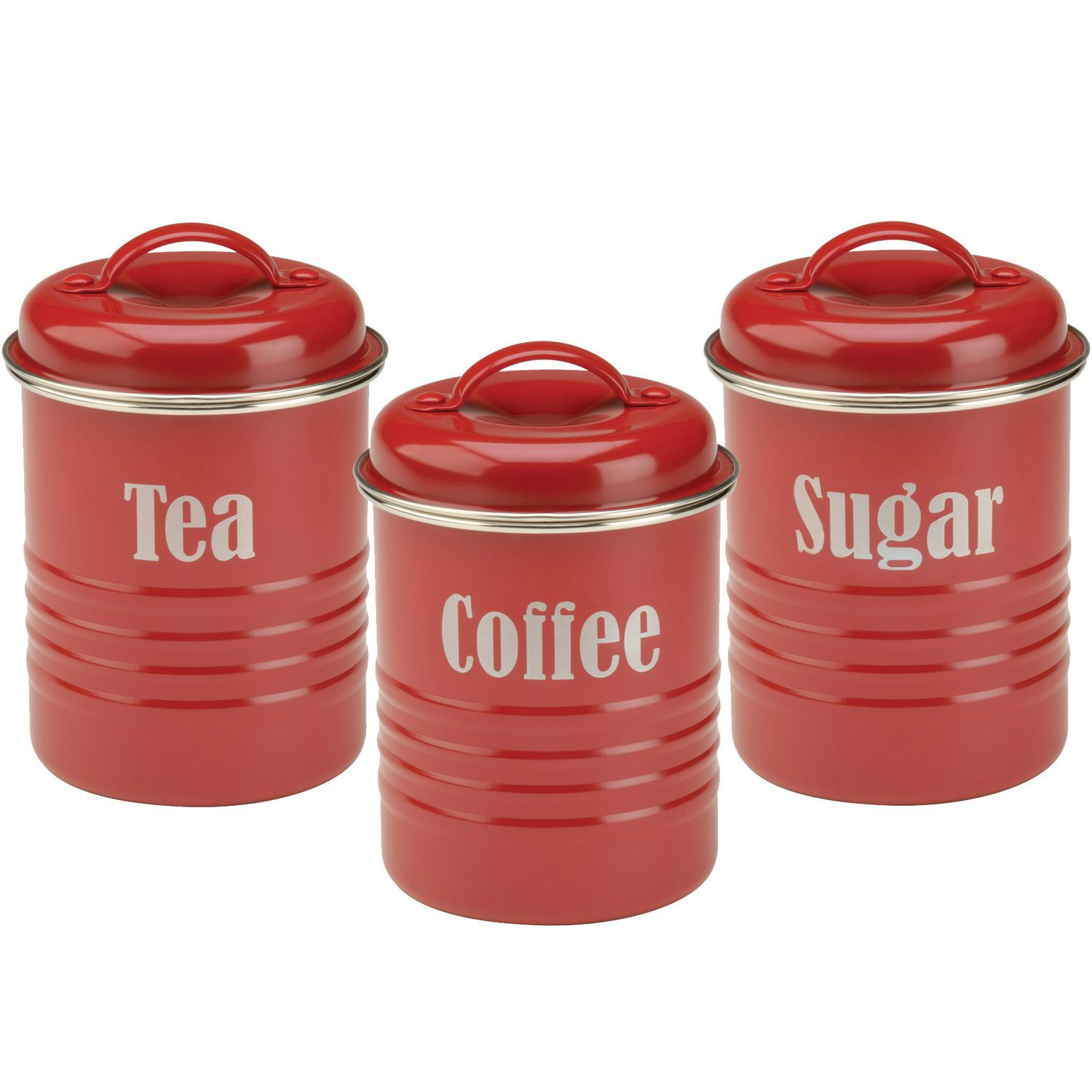 Three-piece enameled kitchen canister set, in a vintage style with white enamel and black trim and lettering - COFFEE, TEA, SUGAR. Description from ebay.com. I searched for this on bing.com/images