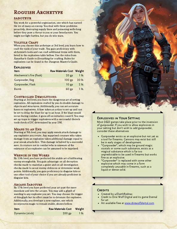 Roguish Archetype: Saboteur | Version 1 0 : UnearthedArcana