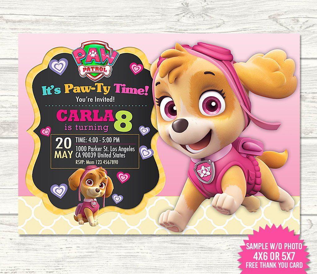 Skye Paw Patrol Invitation Skye Paw Patrol Birthday Skye Invitations Skye Bi Paw Patrol Invitations Paw Patrol Birthday Invitations Paw Patrol Birthday Girl