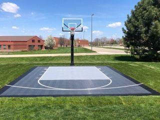 Small gray backyard basketball half-court in 2020 ...