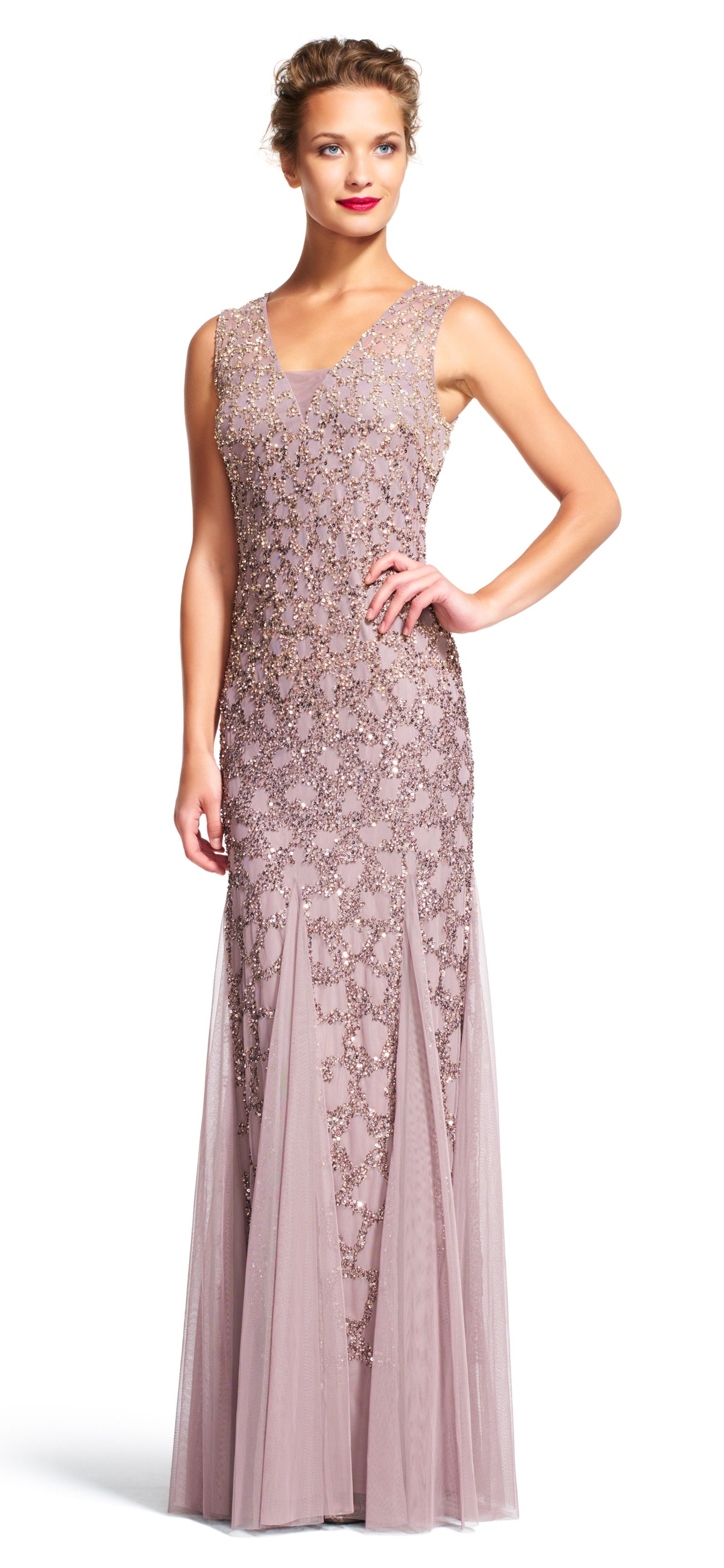 Scale beaded godet gown with sheer neckline illusion neckline