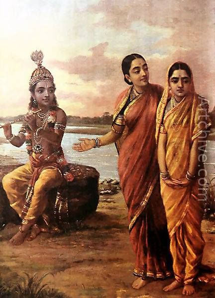 @@@@@@@@@@@@@@ https://es.pinterest.com/anjuanandraja/ravi-varma-paintings/ ............................................. Krishna looks at 2 gopis
