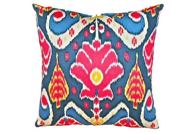 Chaya 20x20 Cotton Pillow, Blue Multi