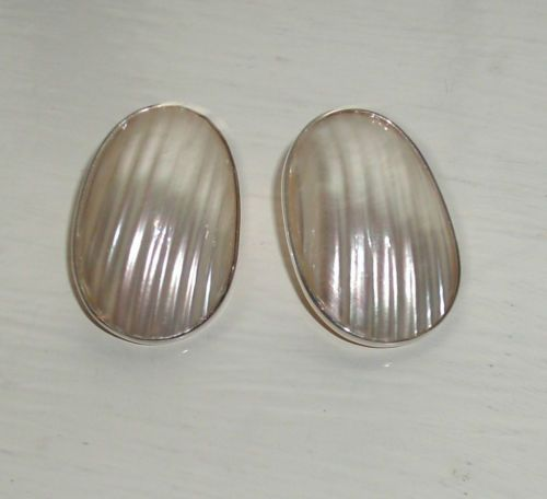 .925 Sterling Silver, Oval Mother-Of-Pearl Earrings w/5 Pearls On Back, New