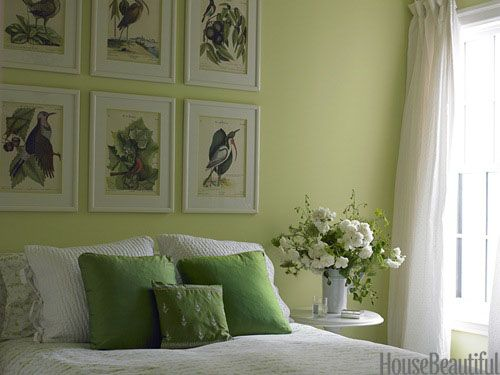 A Bedroom with Spring Greens. Design: Stephen Shubel. housebeautiful.com #flower_arrangement