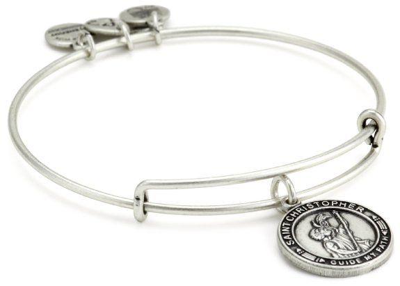 "Alex and Ani Bangle Bar ""St. Christopher"" Russian-Silver Expandable Bracelet"