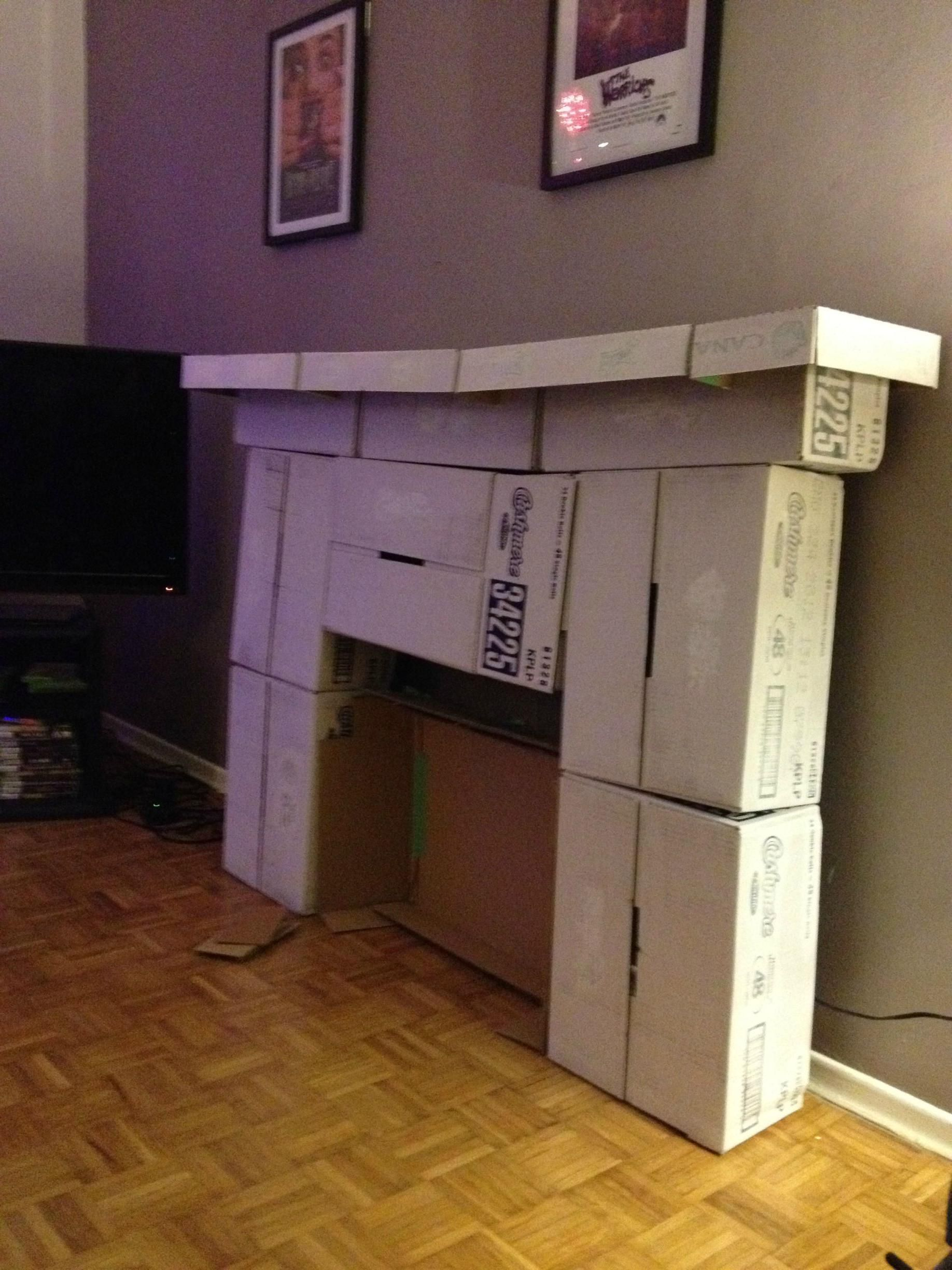 made myself a fireplace out of cardboard craft holidays