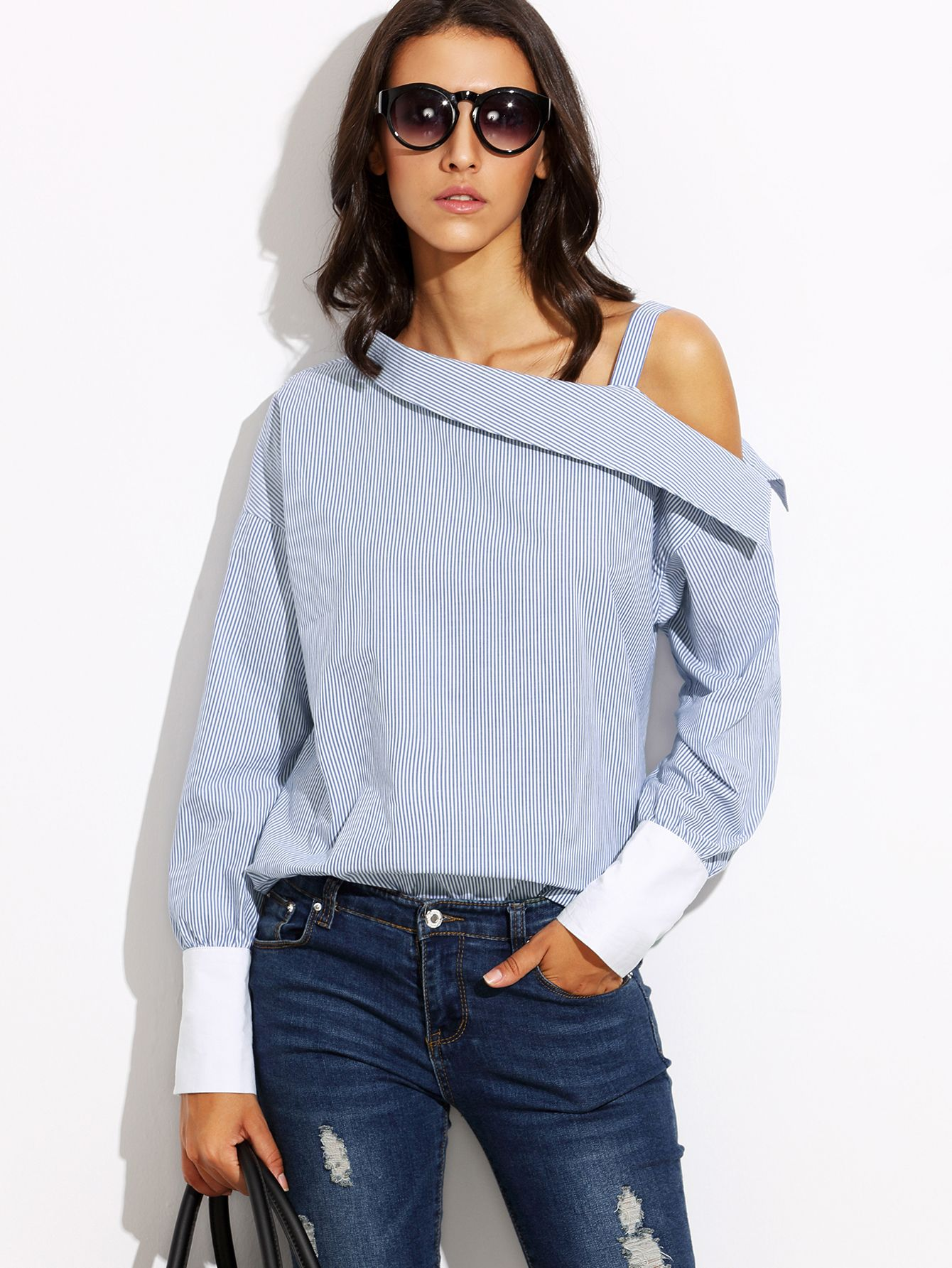 Shop Blue Striped Fold Over Asymmetric Shoulder Contrast Cuff Blouse online. SheIn offers Blue Striped Fold Over Asymmetric Shoulder Contrast Cuff Blouse & more to fit your fashionable needs.