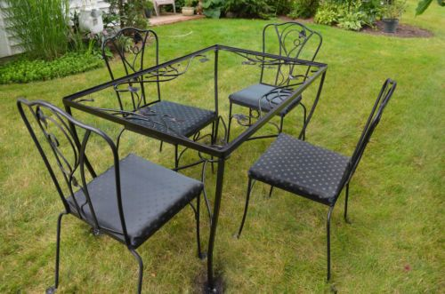 Salterini Wrought Iron Patio Set Table 4 Chairs Grape Vine Reduced