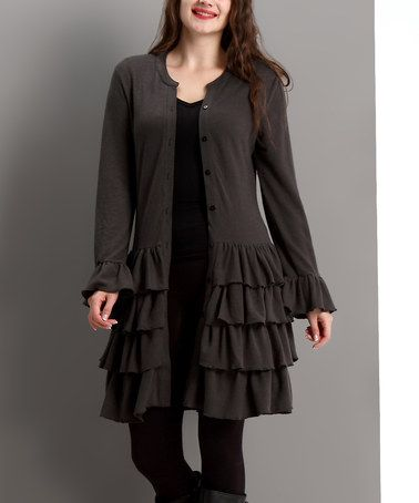 Another great find on #zulily! Charcoal Tiered Ruffle Cardigan - Plus #zulilyfinds