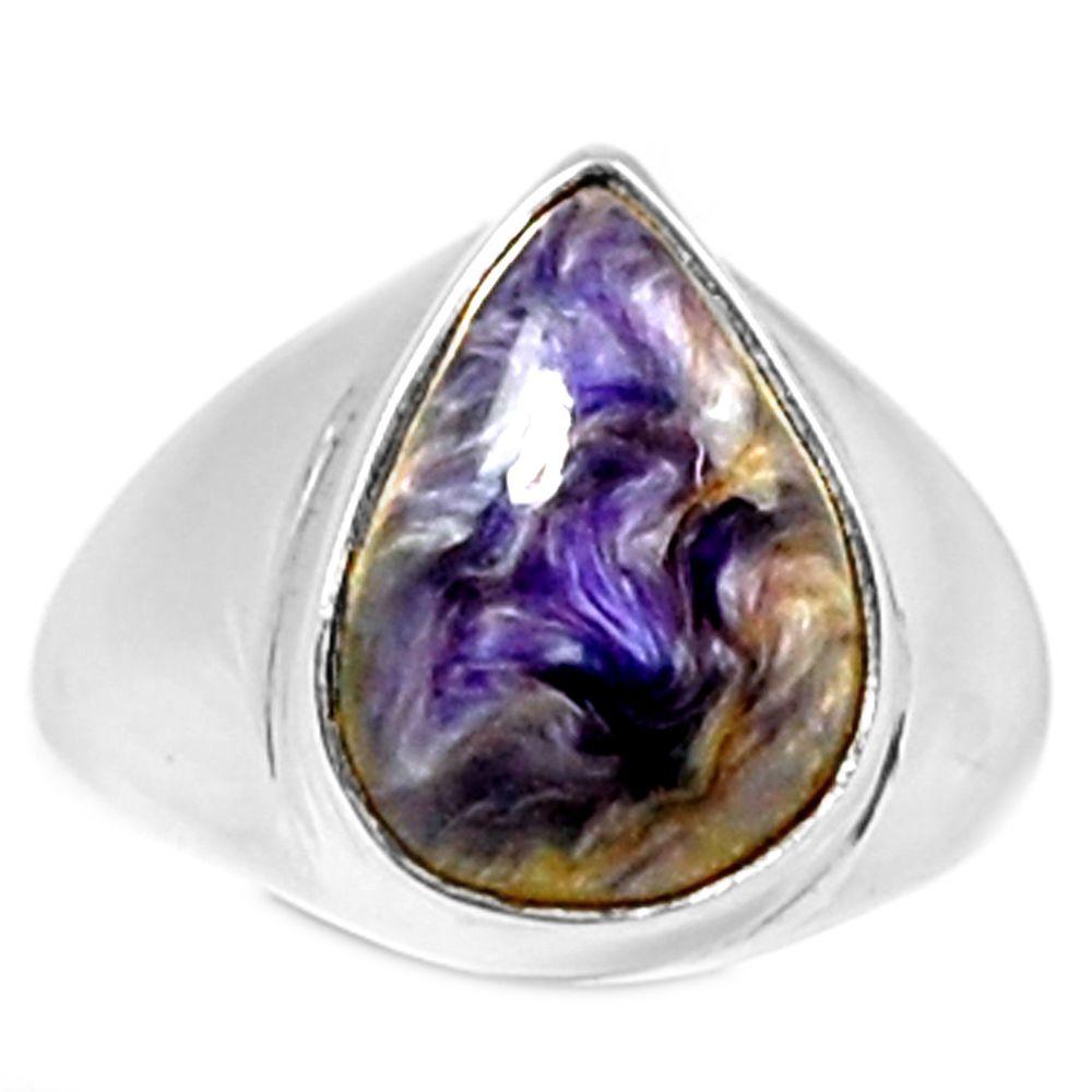 Charoite 925 Sterling Silver Ring Jewelry s.8 CROR329 - JJDesignerJewelry