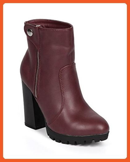 01d17827c8c4 Wild Diva DK55 Women Leatherette Snap Zip Chunky Heel Riding Bootie - Ox  Blood (Size  10) - Boots for women ( Amazon Partner-Link)
