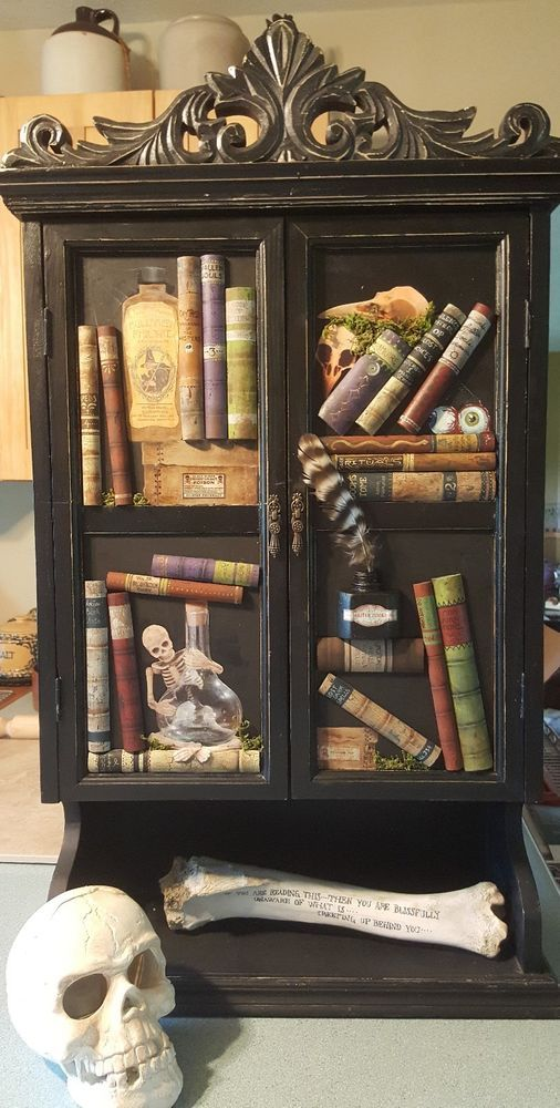 Witches Apothecary Cabinet, Halloween Prop, Potion Bottles