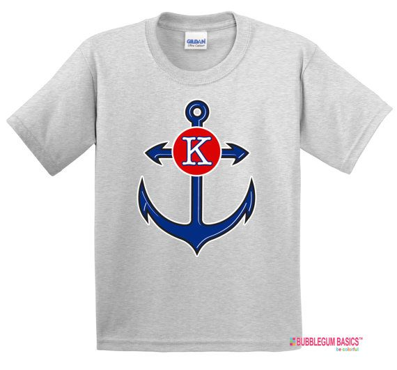 Personalized Girls or Boys ANCHOR NAUTICAL Navy theme T