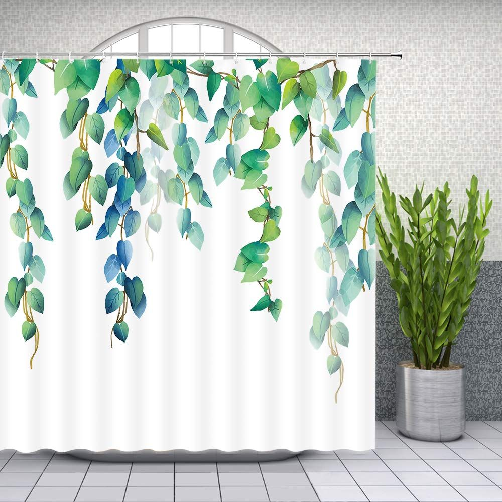 Lileihao Green Leaves Shower Curtain Spring Watercolor Plant
