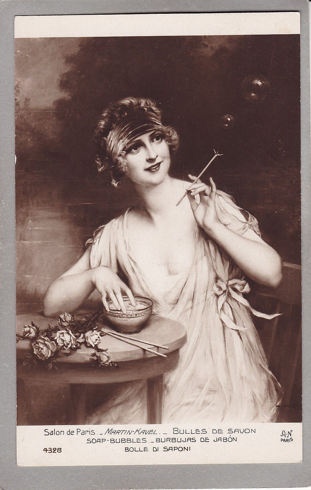 Lady Blowing Bubbles - Art Deco