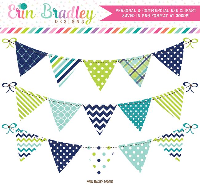 Blue Banner Clip Art Graphics Flag Bunting Banner Baby Boy Digital Clipart Graphics Personal And Commercial Use Instant Download