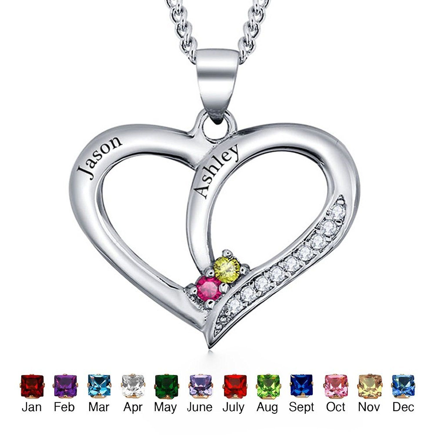 3ed22070976ec Personalized Heart Necklaces Engrave Names Birthstone Promise ...