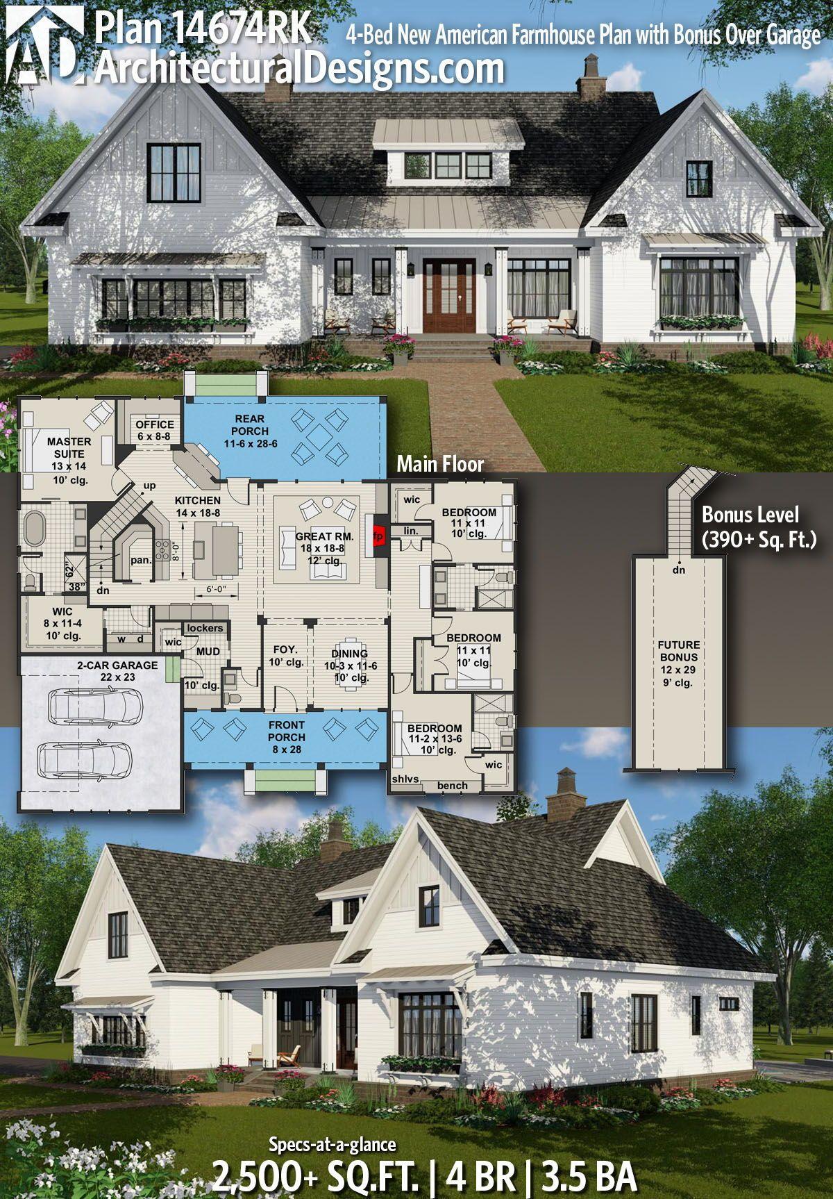 Plan 14674rk 4 Bed New American Farmhouse Plan With Bonus Over Garage House Plans Farmhouse Modern Farmhouse Plans Farmhouse Plans