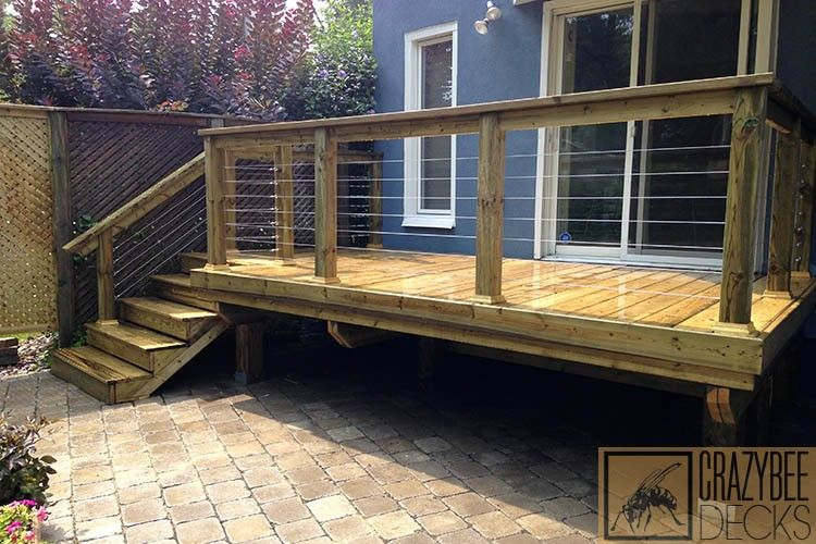 Small Pressure Treated Deck With Cable Rails Deck Deck