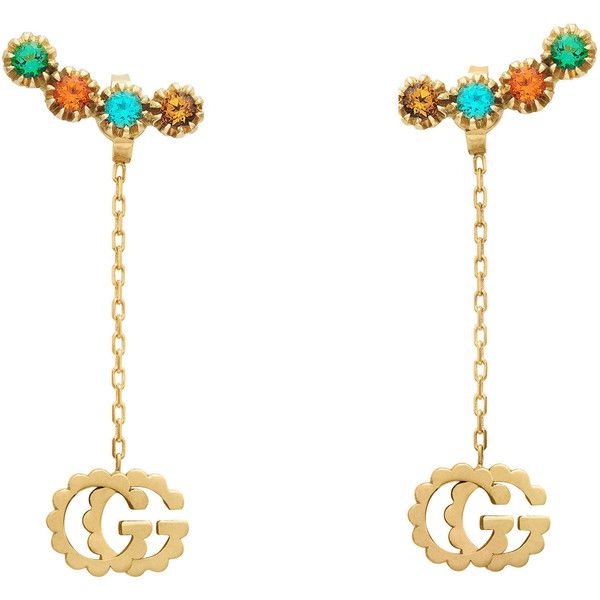 2ada76801 Gucci Double G Earrings With Multicolor Stones ($1,610) ❤ liked on Polyvore  featuring jewelry, earrings, fine jewellery, for women, jewellery & watches,  ...
