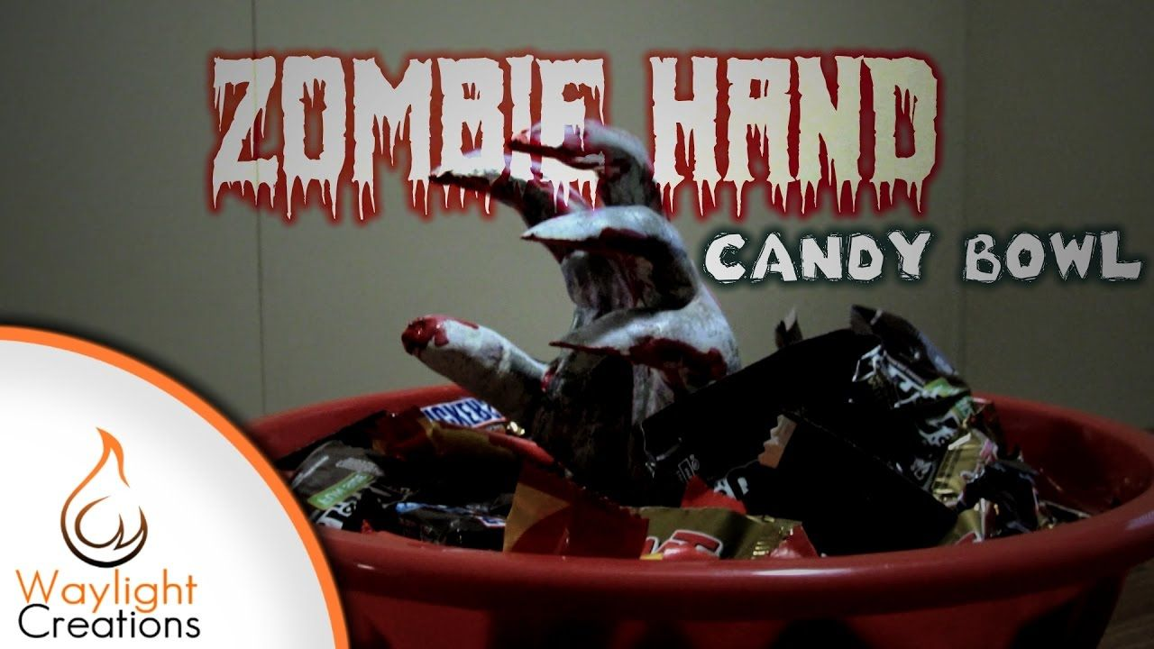 Make A Zombie Hand Candy Bowl