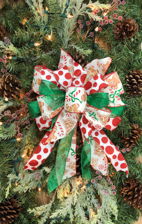 Gingerbread Man Christmas Bows Gingerbread Christmas Etsy Christmas Tree Bows Christmas Bows Christmas Ribbon