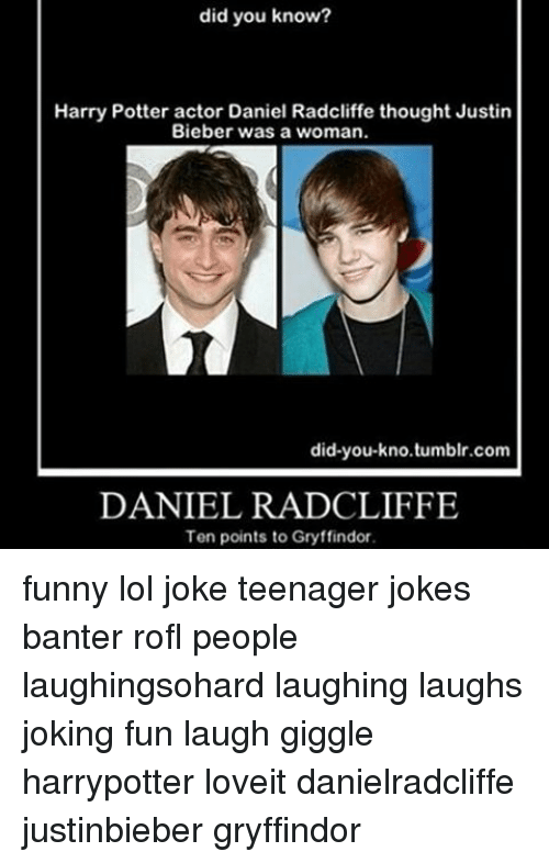 Harry Potter Thought Bieber Was A Girl Daniel Radcliffe Harry Potter Actors Funny Goals