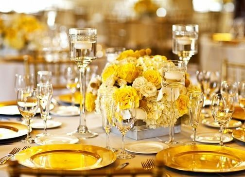 Yellow and gold tablescape centerpieces pinterest