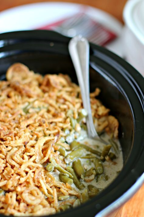 Slow Cooker Green Bean Casserole for a crowd. Save room in the oven!
