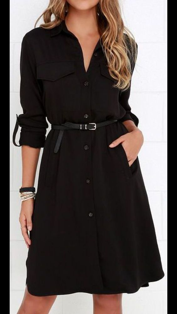 Belted Black Button Up Shirt Dress Perfect For Work Or A