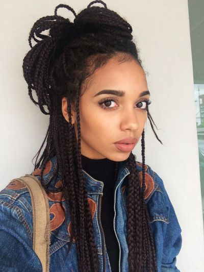 Box Braids On Tumblr Hair Styles Box Braids Hairstyles Box Braids Styling