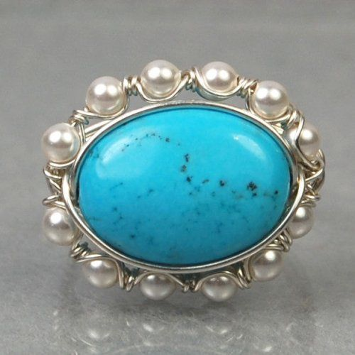 Sterling Silver Wire Wrap Ring withTurquoise Gemstone and Faux Pearls by Twist21 on ArtFire, $34
