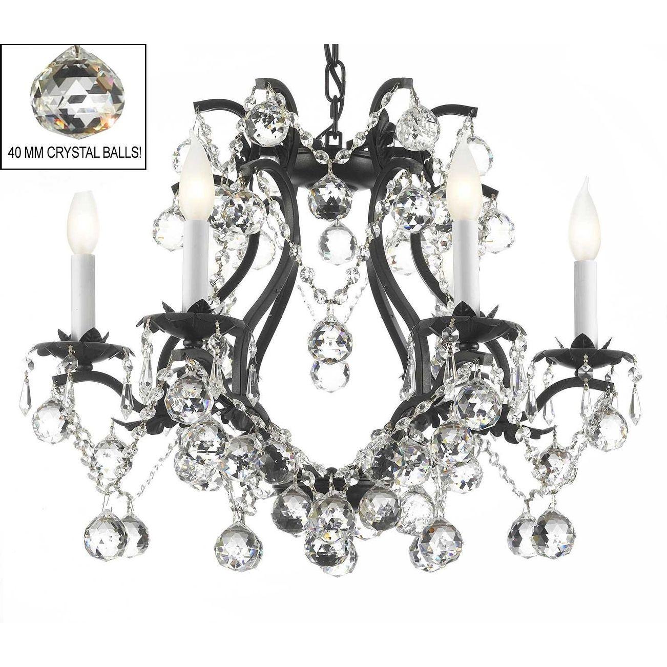 Swarovski crystal trimmed black wrought iron chandelier lighting black wrought iron crystal chandelier lights x dressed with faceted crystal balls arubaitofo Image collections