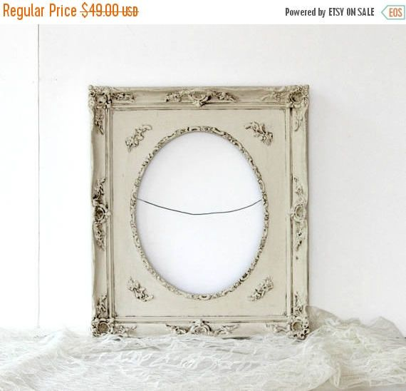 Ornate Wooden Picture Frame Oval Rectangular Shabby Chic Chalk ...