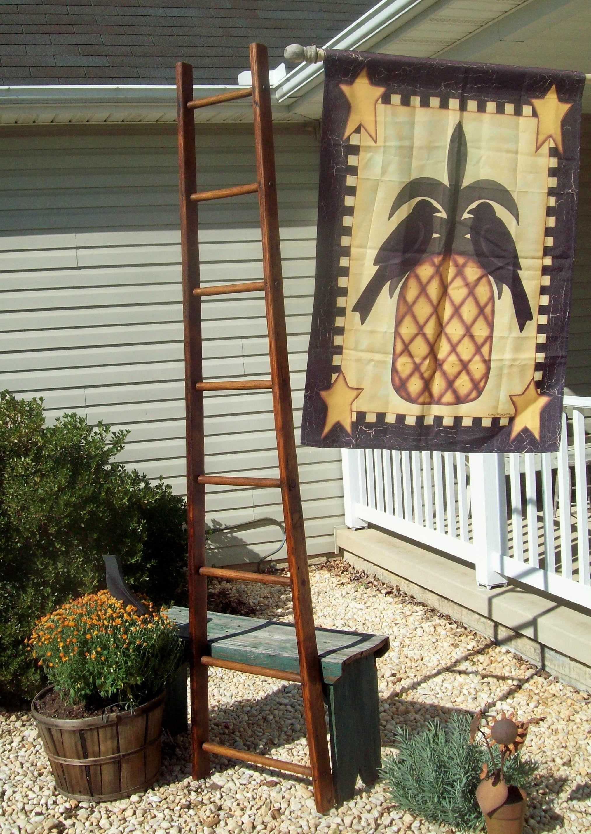 Authentic Orchard Ladders Refinished Or As Is 7 Ft To 9 Ft Puffy Buttons Square Rungs By Treasuresbybetsy On Etsy Ladder Antiques For Sale Vintage Ladder