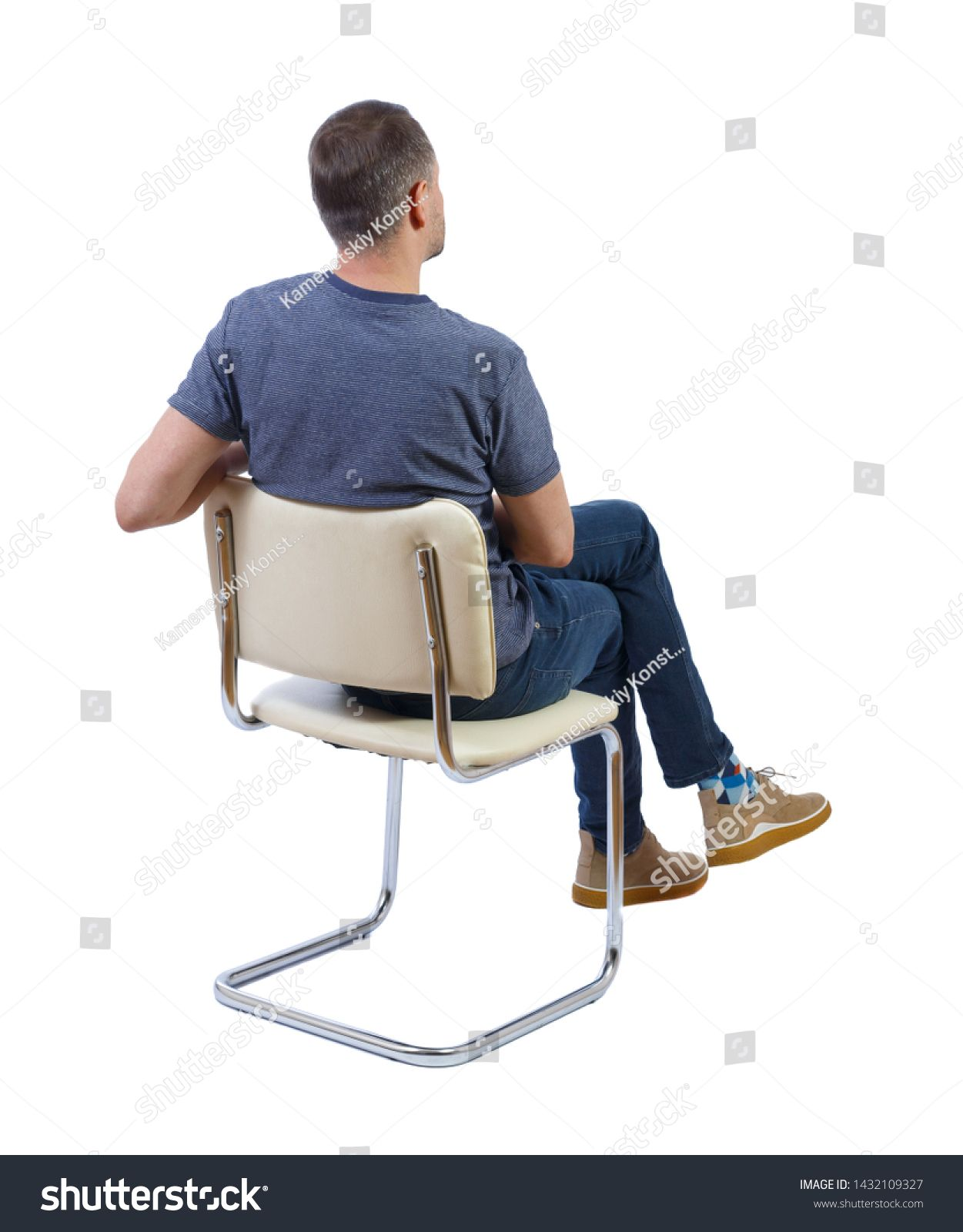 Back View Of A Man Sitting On A Chair Rear View People Collection The Guy Sits Cross Legged Backside View O Sitting Pose Reference Sitting Poses Man Sitting