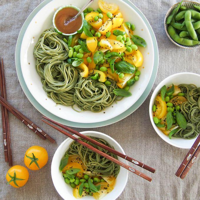 Dynamic Orange Tomato Dressing Video Raw Vegan Recipe: Green Tea Soba Noodles, Heirloom Tomato, Basil And Edamame