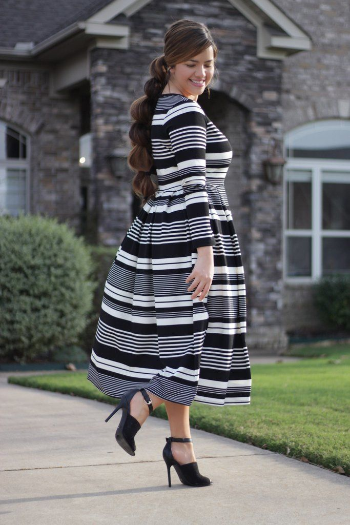 Hailey Stripe Dress Clothes Curvy And Church Outfits