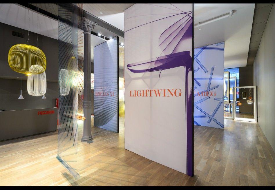 Foscarini Spazio Soho@ ICFF Massimo Gardone's photos contribute to creating a unique backdrop for Foscarini product setup. project: Ferruccio Laviani