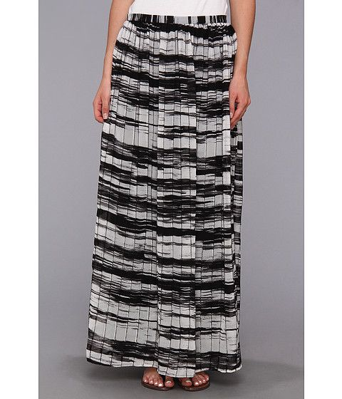 Calvin Klein Womens Printed Pinktuck Polyester Chiffon Maxi Skirt Black/White - Skirts