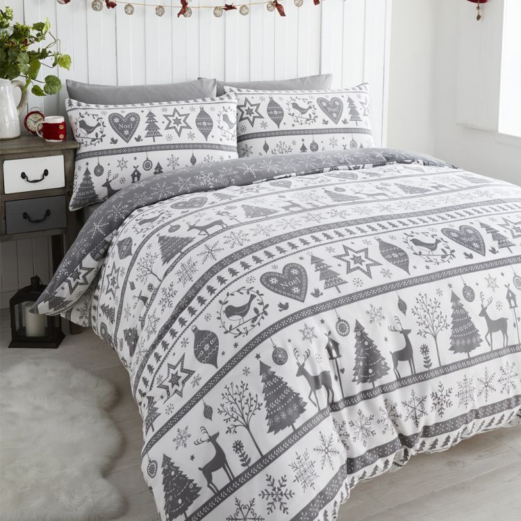 Noel Snowflake Reindeer Grey & White Christmas Quilt Duvet Cover ...